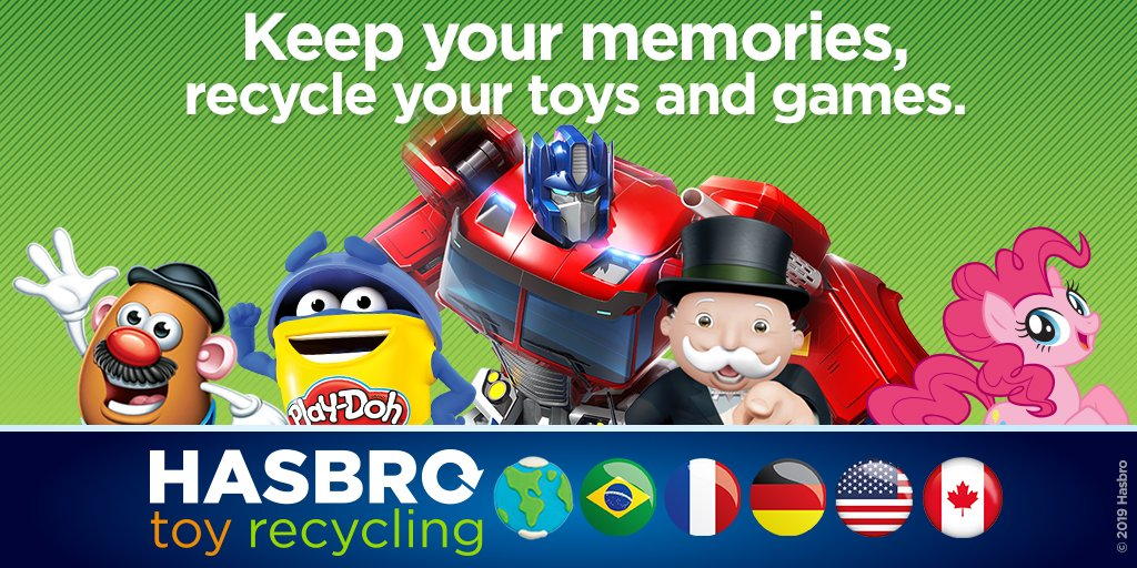 Our toy recycling program is now available in Brazil, Canada, US, France & Germany! Get ready for the holiday season by giving your well-loved toys a new life. Learn more: go.hasb.ro/2Pl9kxR