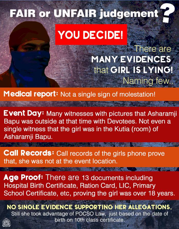 #AsaramBapuVerdict - Fair or Unfair judgement You Decide!  Including the girl's Medical Report, Call records, age proof & eye witnesses, there are many evidences to show that she's lying.  Still Sant Shri Asaram Bapu Ji sentenced to lifetime imprisonment! #BogusCaseButStillJail<br>http://pic.twitter.com/hRVPkaApnw