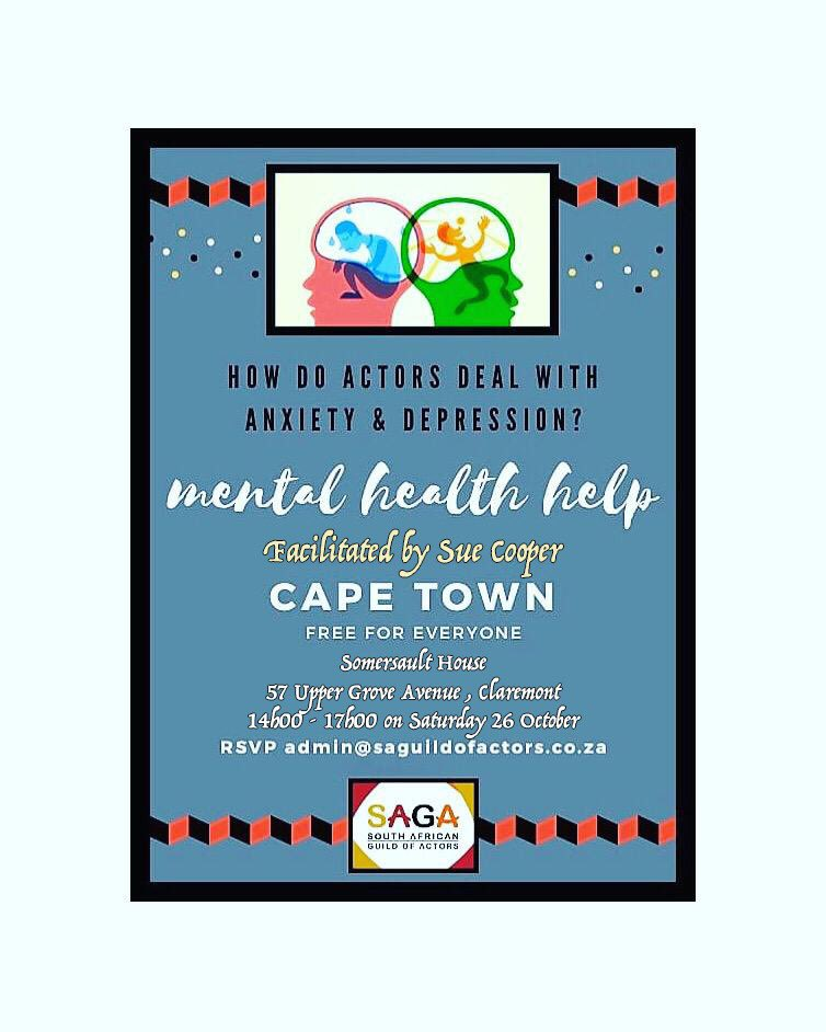 Don't forget to rsvp at admin@saguildofactors.co.za and Join @SAGActors in this important session dealing with Mental Health and the help that is available. The scourge of anxiety and depression needs to be acknowledged and addressed. #IamActoSA #speakout #askforhelp