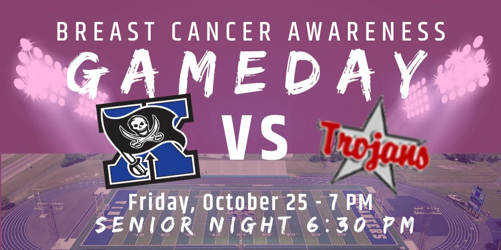 Friday is a big game! Xenia (7-1) vs Troy (7-1) at Doug Adams Stadium. Come out and show your support for breast cancer awareness! Wear Pink! Senior Night at 6:30pm. @XeniaSupt @XeniaSchools @xeniabucsfb @troyhstrojans @xeniagazette @TroyDailySports @MVLathletics @XeniaCheer