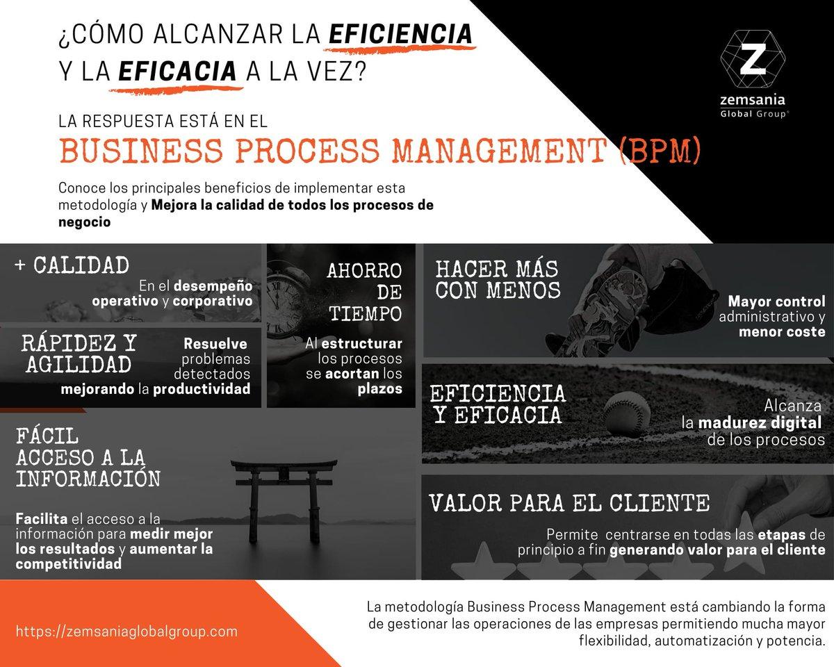 ¿Sabes cómo alcanzar la eficiencia y la eficacia a la vez? La respuesta está en el Business Process Management (BPM). Es una metodología que permite mejorar la calidad de los procesos de negocio. Échale un vistazo a la imagen y descubre cómo el #BPM ¡puede cambiar el paradigma!