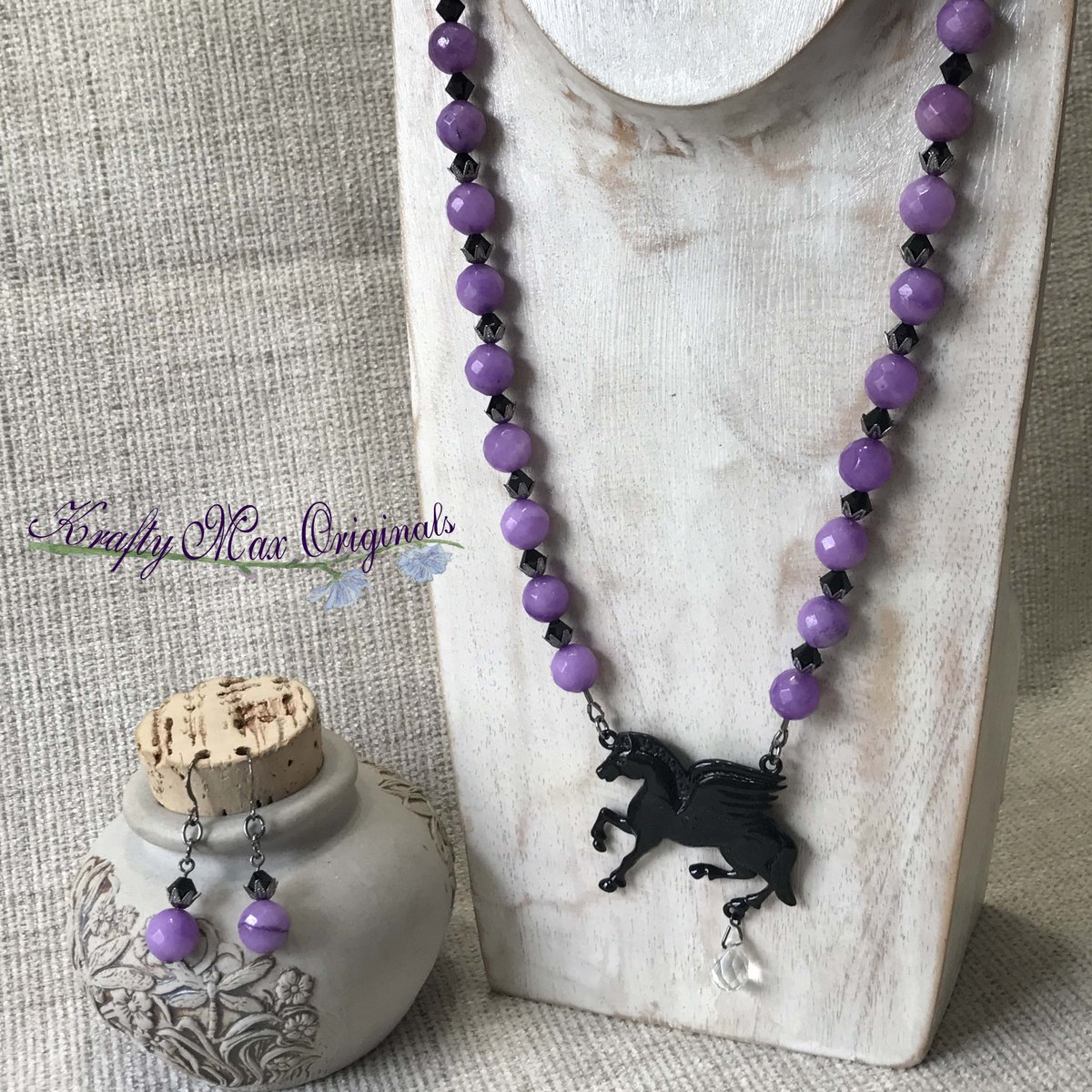 Black Horse and Purple Faceted Gemstones Necklace and Earrings Set (discounted from $42 down to $20)  #handmade #jewelry #buyhandmade #handmadelove #handcrafted #kraftymax #kmax #discount #sale #bargain #save #clearance