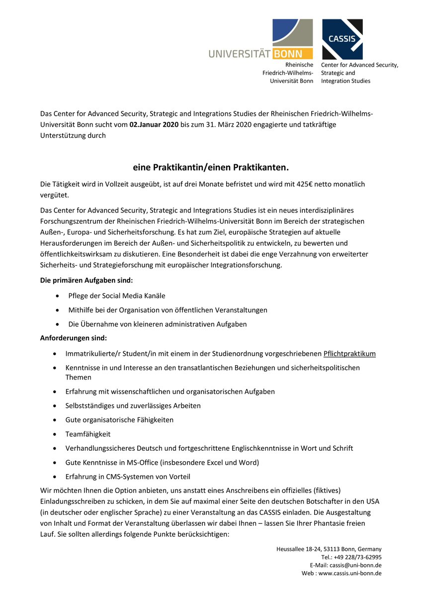 Bewerbung Limes Institut Bonn
