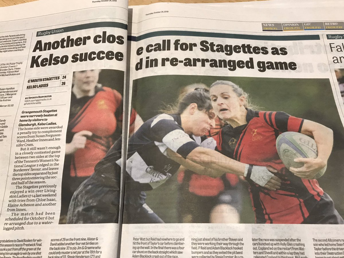 Nice piece in this weeks @falkirk_herald featuring @staggettesrugby