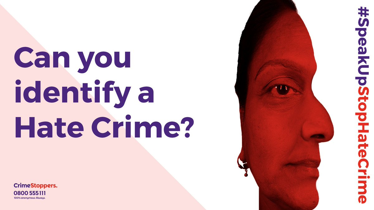 """""""Stop, look, report Hate Crime!"""" We guarantee that any report you make to us will remain anonymous. Not even we'll know who you are. Find out how Hidden Harms can help - crimestoppers-uk.org/campaigns-medi… #SpeakUpStopHateCrime"""