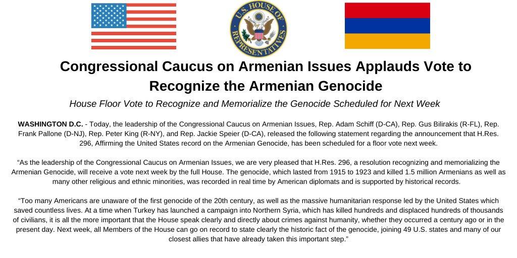 На следующей неделе в Конгрессе США пройдет голосование по резолюции о признании Геноцида армян