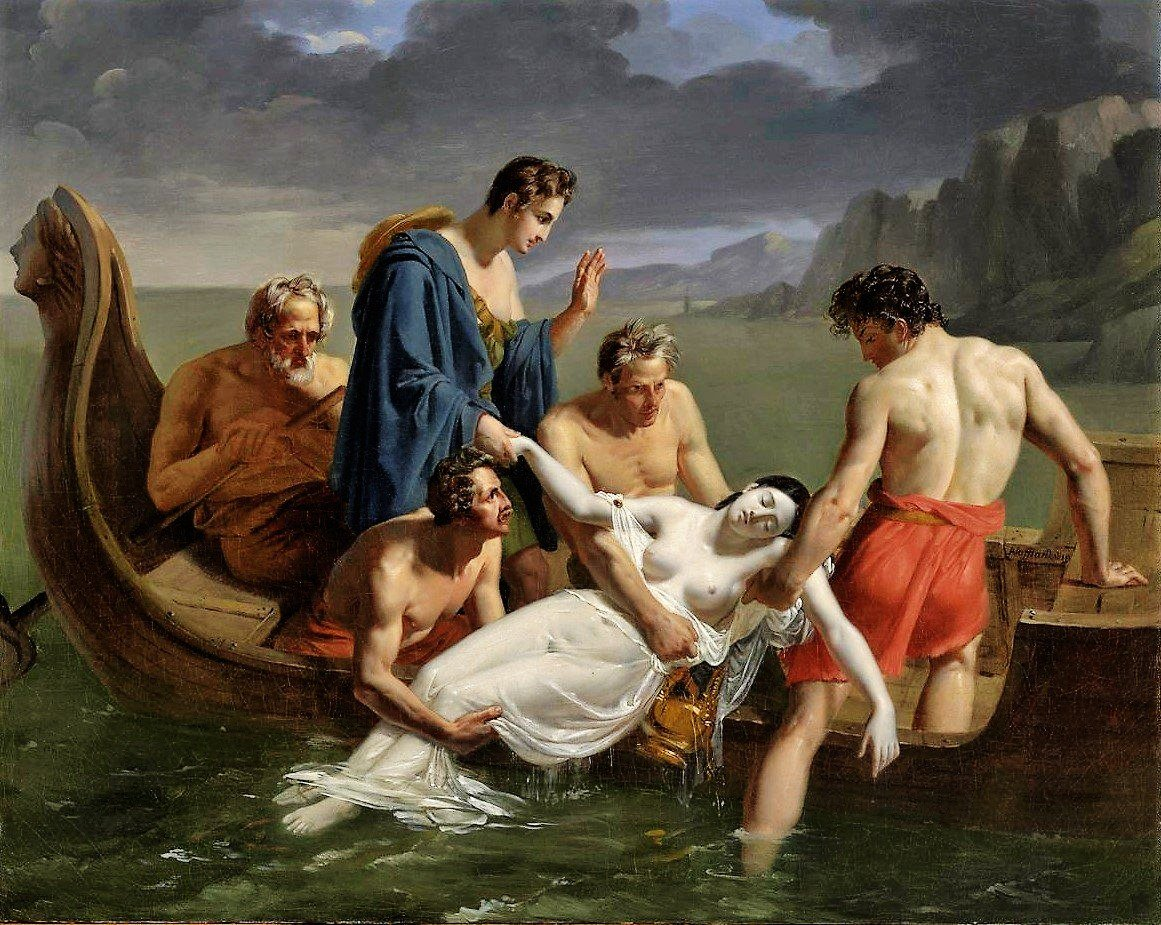 The Death of Sappho (1819) by Pierre Auguste Vafflard (France, 1777-1837). Sappho was an Ancient Greek poet from the island of Lesbos. #Regencypic.twitter.com/0Vabm0atmd