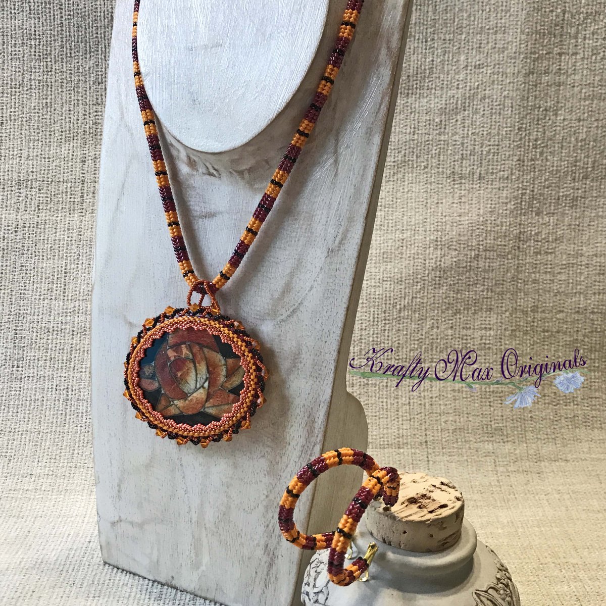 Sunset Rose Beadwoven Wearable Art Necklace and Hoop Earrings Set (discounted from $142 down to $69)  #handmade #jewelry #buyhandmade #handmadelove #handcrafted #kraftymax #kmax #discount #sale #bargain #save #clearance