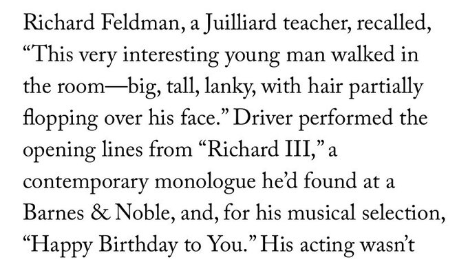 Just mulling over Adam Driver singing happy birthday for his Julliard audition