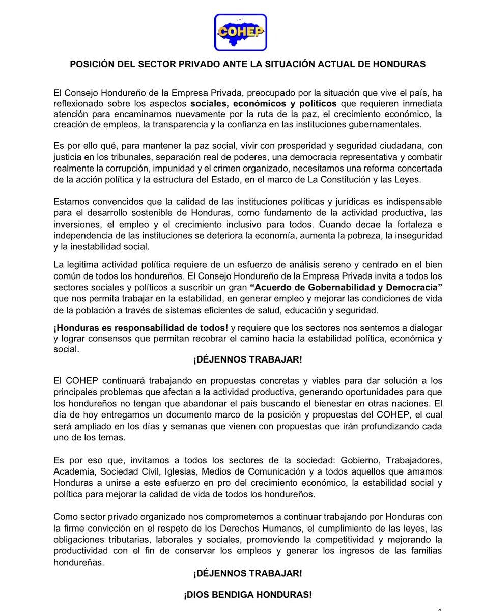 Cohep On Twitter Posición Del Sector Privado Ante La