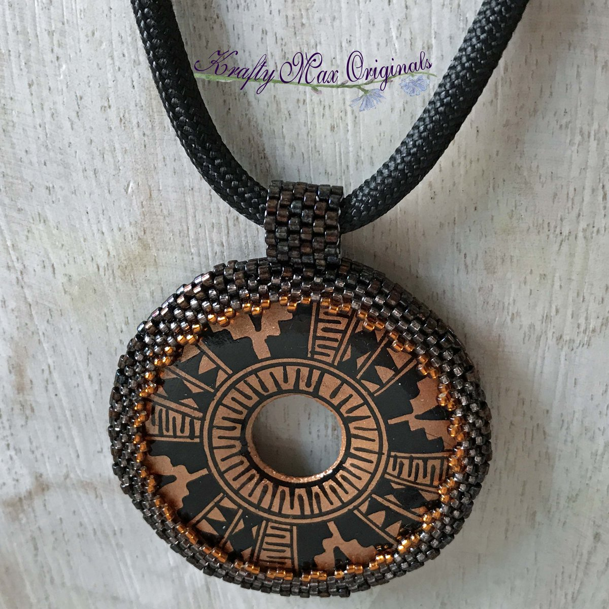 Bronze and Black Aztec Beadwoven Necklace (discounted from $57 down to $27)  #handmade #jewelry #buyhandmade #handmadelove #handcrafted #kraftymax #kmax #discount #sale #bargain #save #clearance