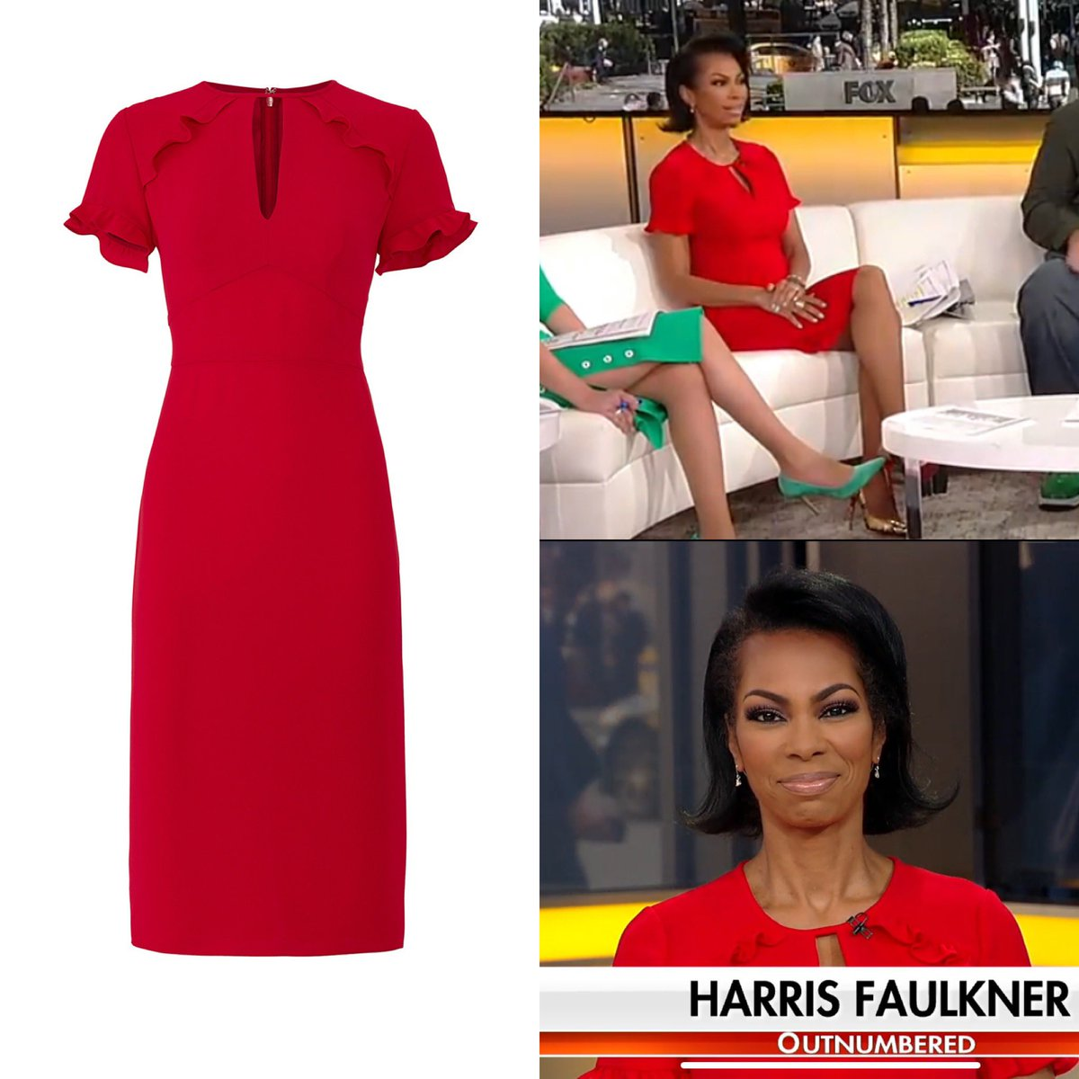 Harris Faulkner (@HARRISFAULKNER) wore a Shoshanna 'Santamarie' Red Keyhole Ruffle Sheath dress today on #Outnumbered - the dress is available via Rent the Runway. #harrisfaulkner #foxnews #foxnewsfashion pic.twitter.com/xvsU2uaeWF