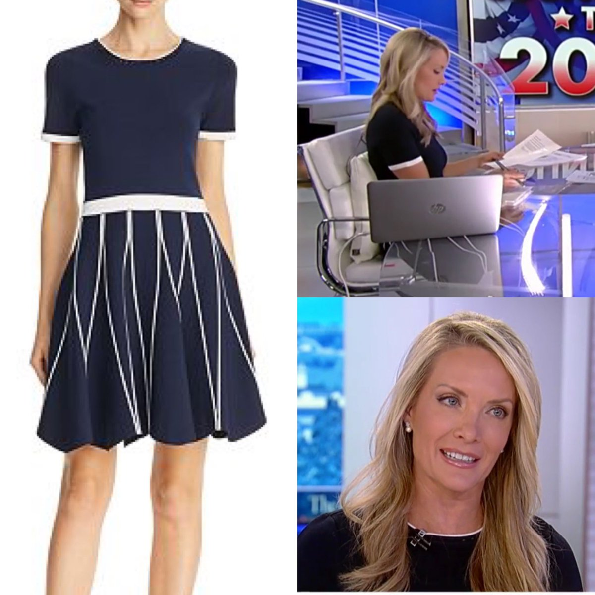 Dana Perino wore a Shoshanna 'Tinsley' Knit Dress with Pink Piping today on #TheDailyBriefing - the dress is on sale via Amazon.  #danaperino #foxnews #foxnewsfashion pic.twitter.com/lWkW0PiRlK