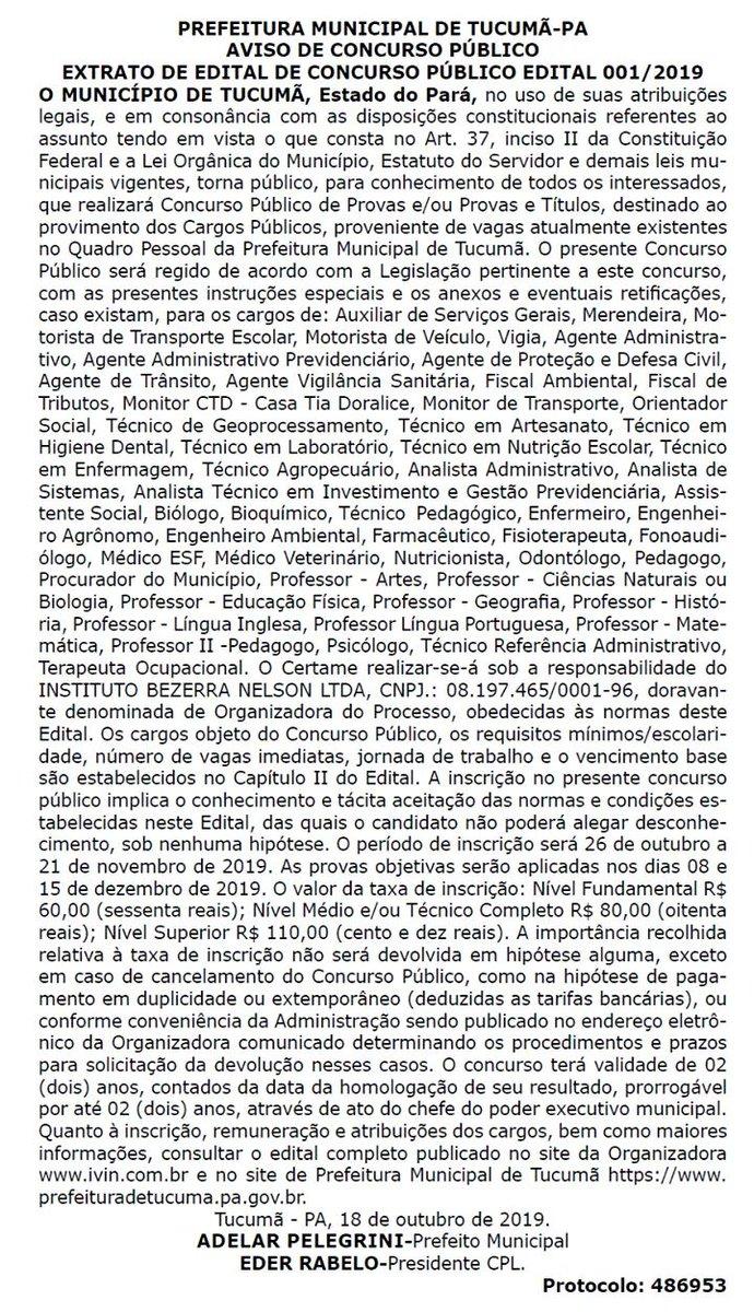 Publicado Edital do Concurso Público da Prefeitura de Tucumã, Estado do #Pará, Inscrições de 26.Out a 21.Nov. Provas dias 08 e 15 de dez. Mais informações nos sites  e .  #Tucumã #Edital #Concurso #PrefeituraMunicipal #EstadoDoPará