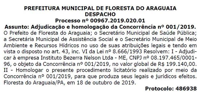 O Instituto Bezerra Nelson Ltda () é a organizadora escolhida para a realização do Concurso Público da Prefeitura Municipal de Floresta do Araguaia, Estado do #Pará.  #FlorestaDoAraguaia #Concurso #Notícia #PrefeituraMunicipal #EstadoDoPará
