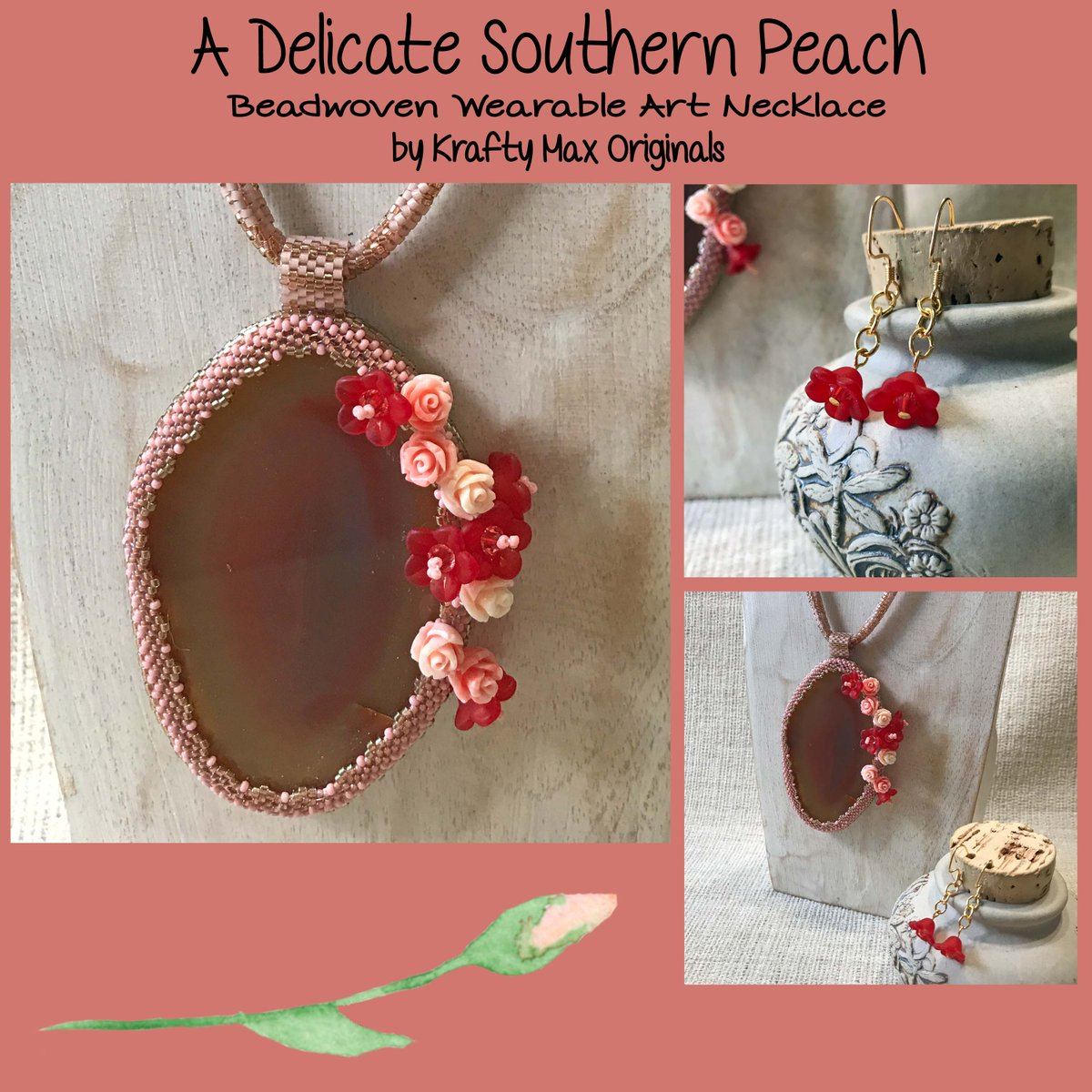 A Delicate Southern Peach Wearable Art Necklace Set (discounted from $146 down to $71)  #handmade #jewelry #buyhandmade #handmadelove #handcrafted #kraftymax #kmax #discount #sale #bargain #save #clearance