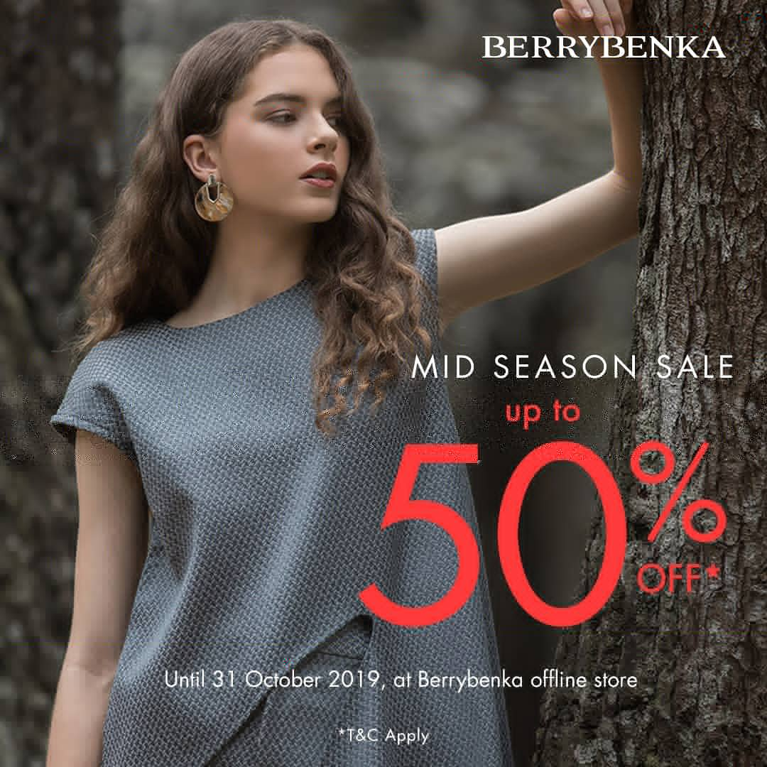 Mid Season sale @berrybenka store mall Trans Studio Mall Cibubur . Get discount up to 50%off until 31 October 2019. Fill up your closet with quality product in special price! Happy shopping! https://t.co/0jSvnSuwdt