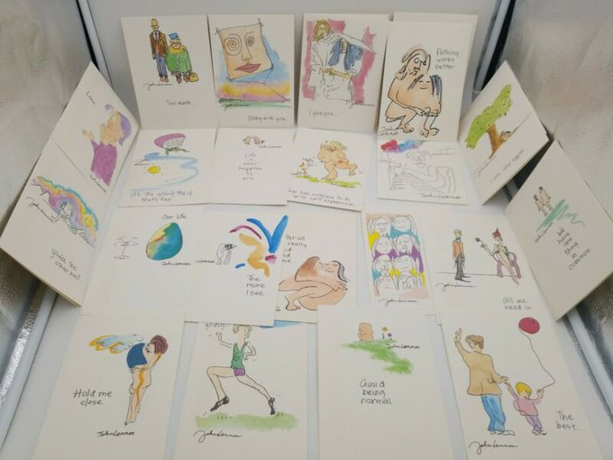 Vintage 1987 John Lennon Greeting Card Lot 24 Anniversary Happy Birthday Beatles