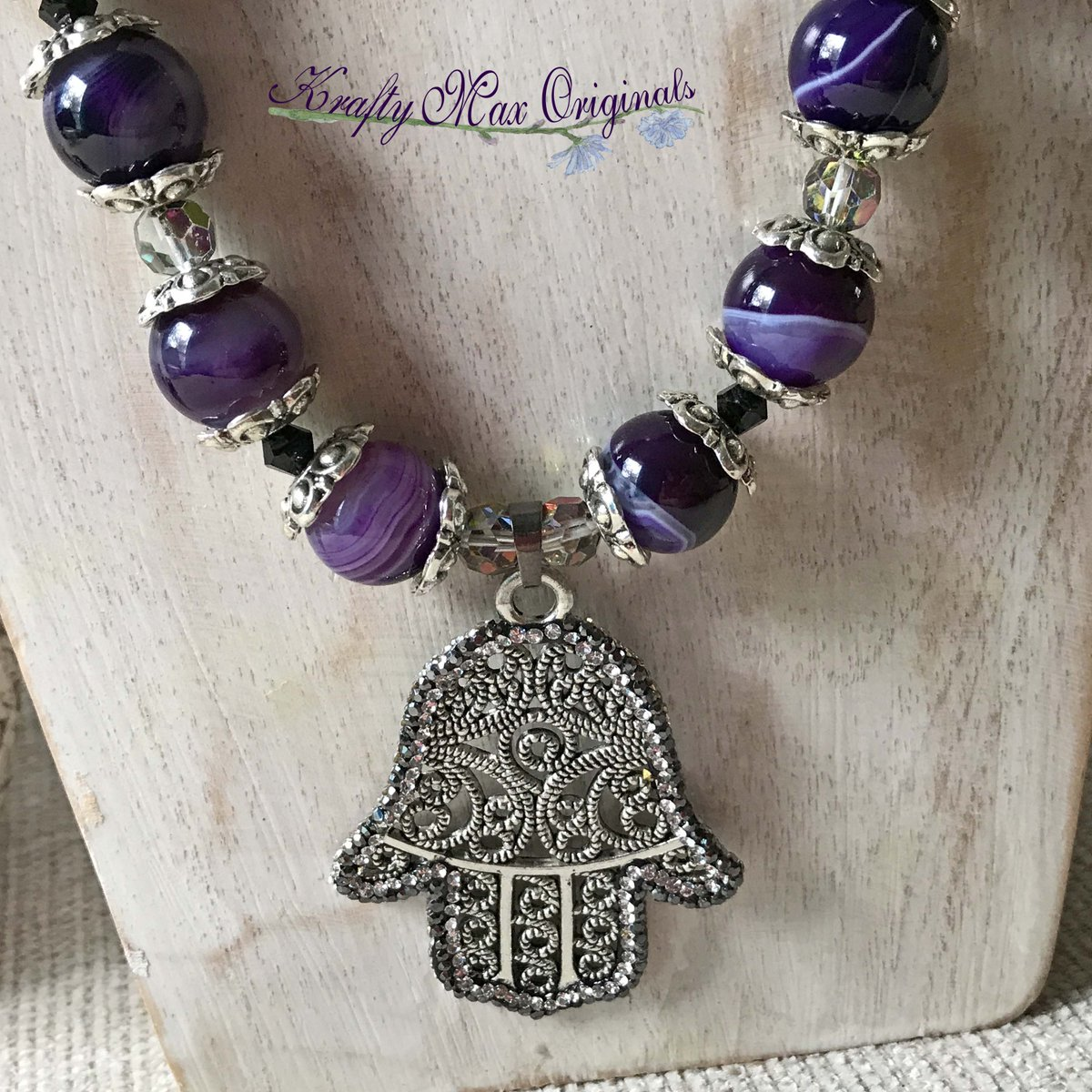 Purple Banded Agate with Swarovski Crystals and an Encrusted Hand Necklace Set (discounted from $57 down to $26)  #handmade #jewelry #buyhandmade #handmadelove #handcrafted #kraftymax #kmax #discount #sale #bargain #save #clearance