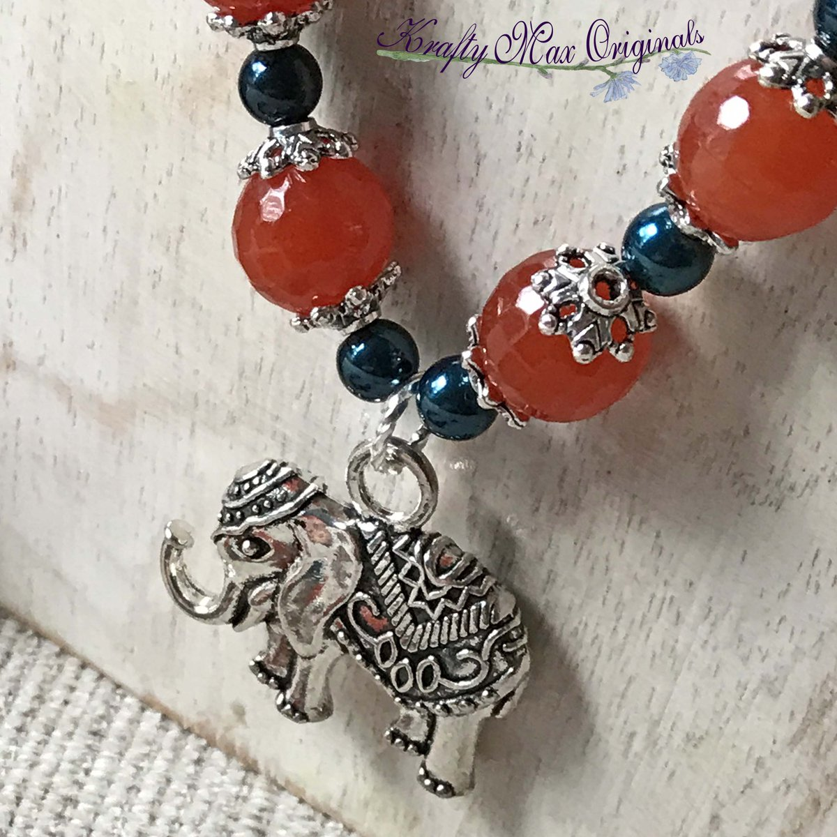 Orange Gemstones and Blue Swarovski Crystals with Elephants – Necklace Bracelet and Earrings Set (discounted from $61 down to $30)  #handmade #jewelry #buyhandmade #handmadelove #handcrafted #kraftymax #kmax #discount #sale #bargain #save #clearance