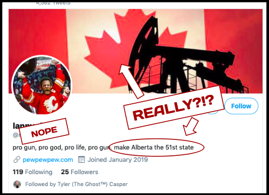 All that said, there's no denying Alberta has more than its share of easily manipulated bozos attracted to easy-sounding solutions to complex problems, the more reckless the better. Moo out  #BuildThatPipeline or  #MakeAmericaGreatAgain or  #Wexit, either way you're still mooing /10