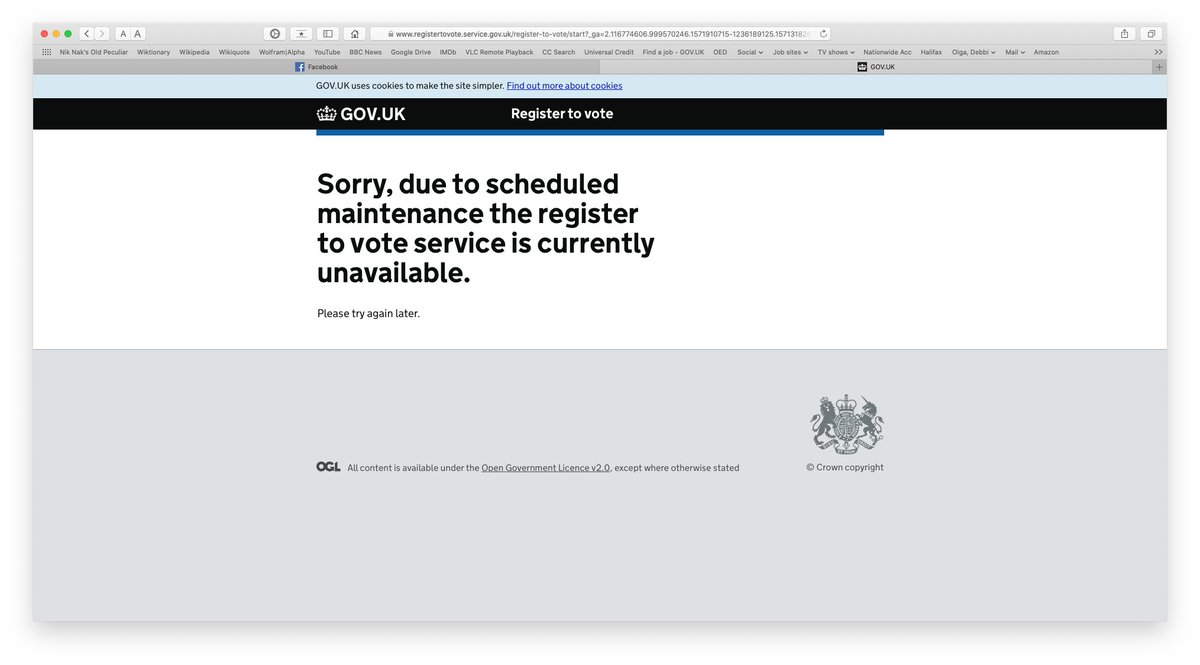 Has someone told @BBCNews  the .gov #voter  #registration  site seems to be having issues?  #Brexit  #Election  #UK  #GeneralElection  #generalelection2019