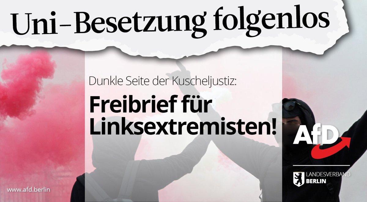 2017 wurden Räume der @HumboldtUni besetzt. Nun wurden drei Stundenten angeklagt – und die Räume nach dem Prozess erneut besetzt. Die Uni-Stürmung bleib also folgenlos. Merke: Dunkle Seite der Kuscheljustiz stellt Freibriefe für Linksextremisten aus! #R2G #Lucke #Hamburg