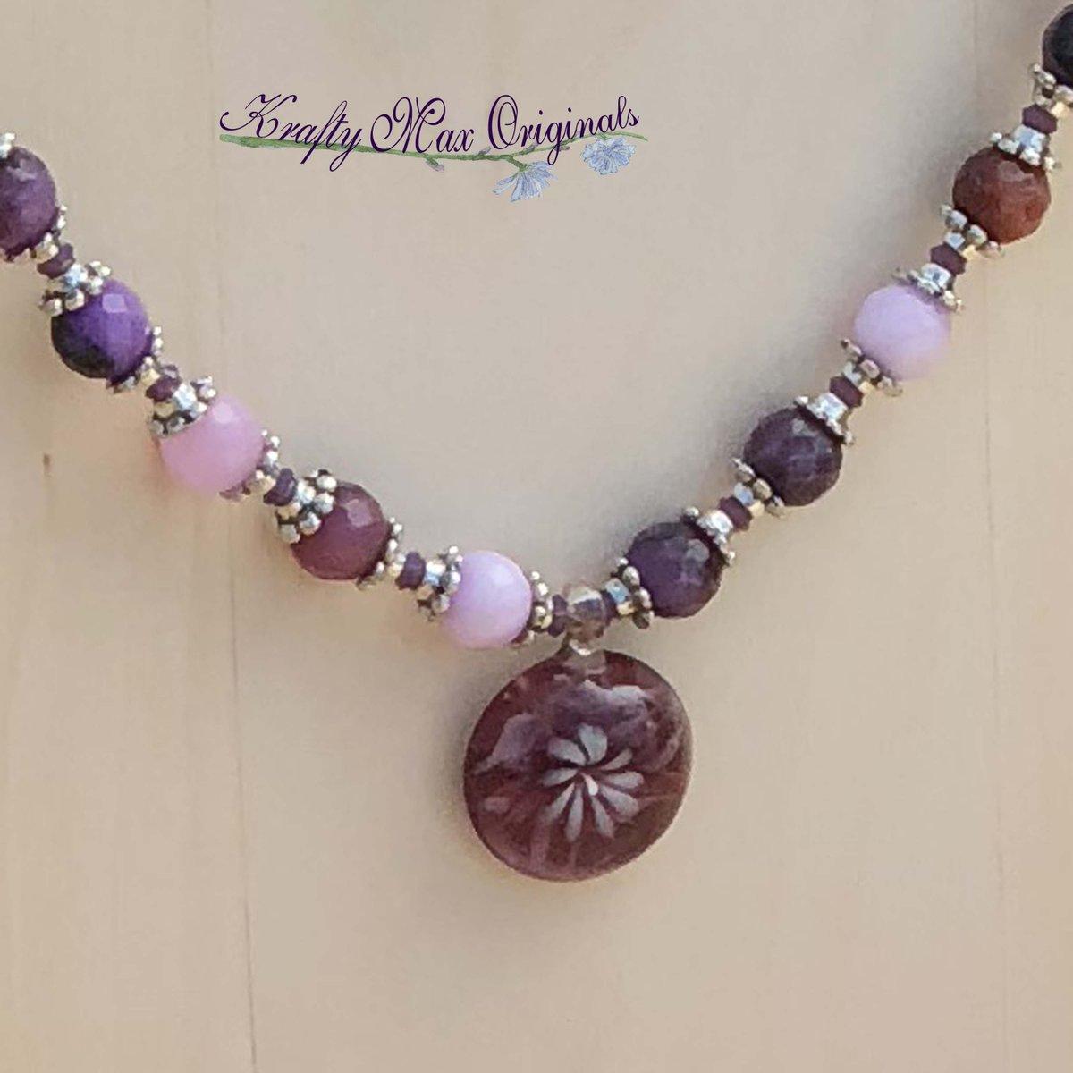 Purple Gemstone and Flowers with Swarovski Crystals Necklace Set $48  #handmade #jewelry #supporthandmade #buyhandmade #handmadelove #jewelrydesigner #jewelryart #uniquejewelry #handcrafted #kraftymax #kmax