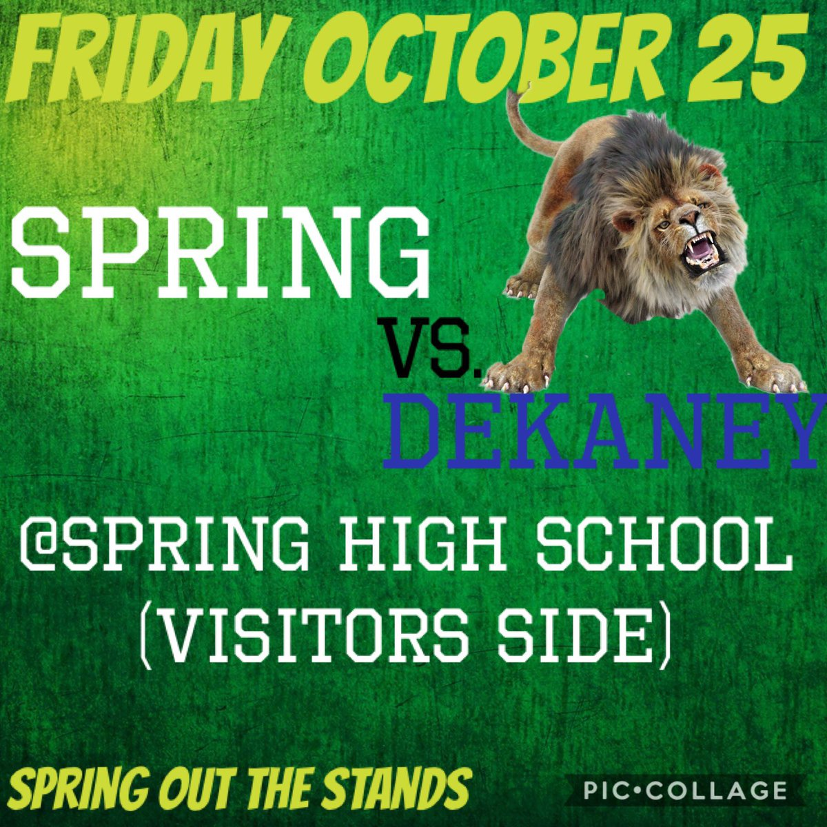 Attention Spring Lions lets spring out the stands tonight for our football boys!! We will be on the visitor side tonight 💚#wearespring #mbybob https://t.co/znqHrwC686