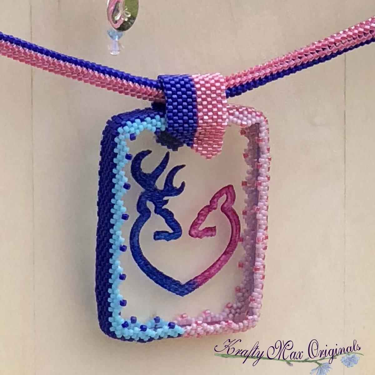 Pink and Blue Deer Beadwoven Wearable Art Necklace with Center from Wildlife Plastics $77  #handmade #jewelry #supporthandmade #buyhandmade #handmadelove #jewelrydesigner #jewelryart #uniquejewelry #handcrafted #kraftymax #kmax