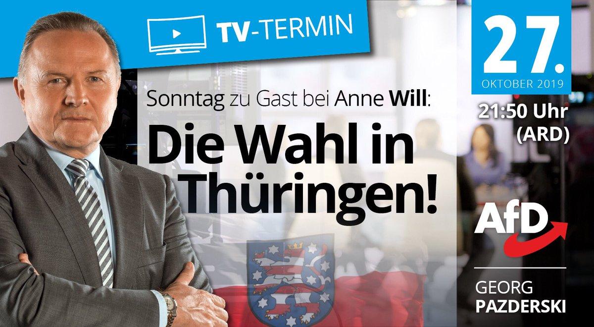 ++ Programmhinweis ++ Ich bin am Sonntag 21.50 Uhr bei @annewill (ARD) Diskutiert wird die Landtagswahl in Thüringen. Ich freue mich auf den konstruktiven Schlagabtausch. Schalten Sie ein und begleiten Sie die Diskussion über #annewill. daserste.ndr.de/annewill/index…