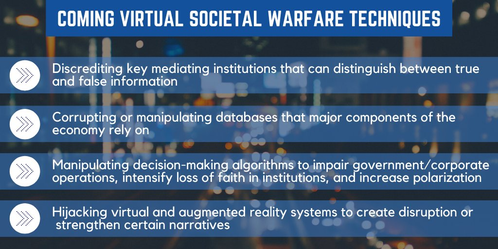 In the coming digital dystopia, disinfo is the tip of the iceberg. Aggressors wont just manipulate information – algorithms & other systemic features will increasingly determine social reality, not just individual perceptions. Report by @RANDCorporation: rand.org/pubs/research_…