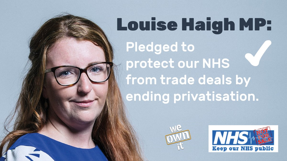 Massive thanks to @LouHaigh for pledging to protect our NHS from trade deals by ending privatisation. #HandsOffOurNHS Has your MP signed the pledge? weownit.org.uk/nhs-trade-deal…