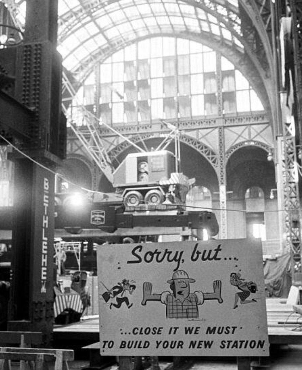 Sign posted as old Penn Station demolition begins, New York City, 1963: