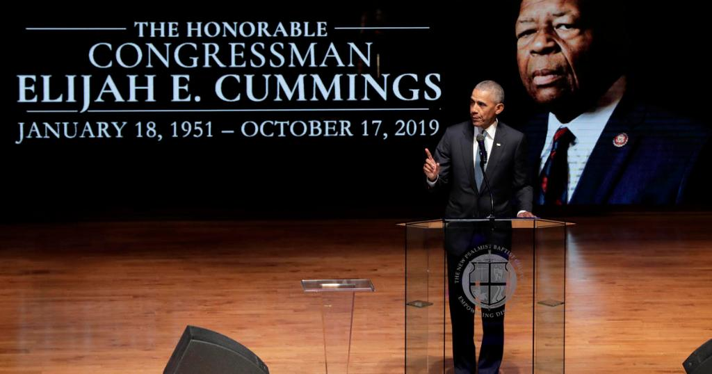 "In eulogy, Obama praises Cummings for earning the ""honorable"" title given to politicians"