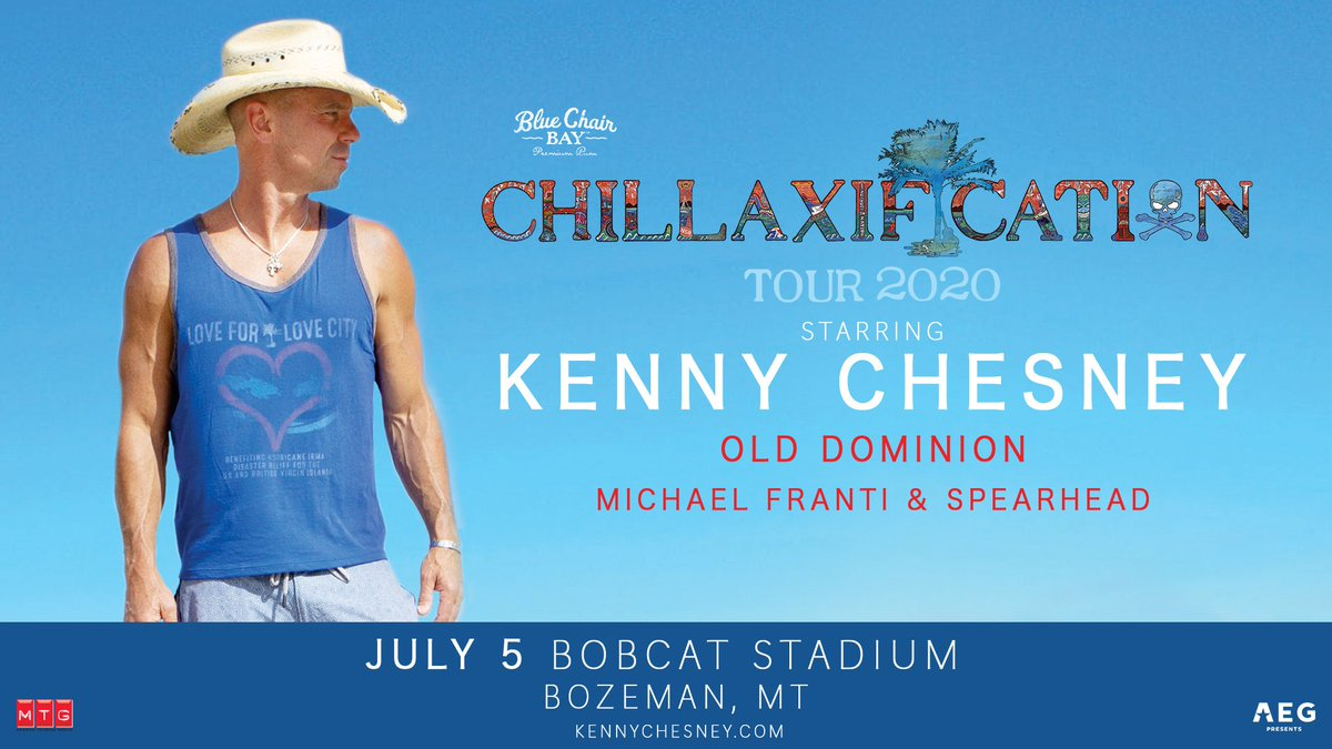 Tix for the #chillaxificationtour stop at #BobcatStadium in Bozeman MT on July 5 are onsale now. See you in 2020 #noshoesnation. bit.ly/2MoZACJ @BlueChairBayRum