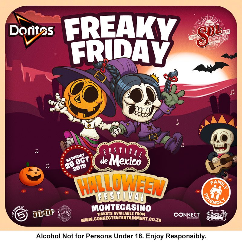 The Friday is freaky & tomorrow's going to one crazy Halloween party at Feetival De Mexico 🥳Come through & let's have the perfect Saturday together😁The likes of @DJZinhle, @MatthewJMole & @RyanTheDJ are making sure!🤩 Tickets:bit.ly/35KYDwq #DoritosFDM2019 #FDMx5FM
