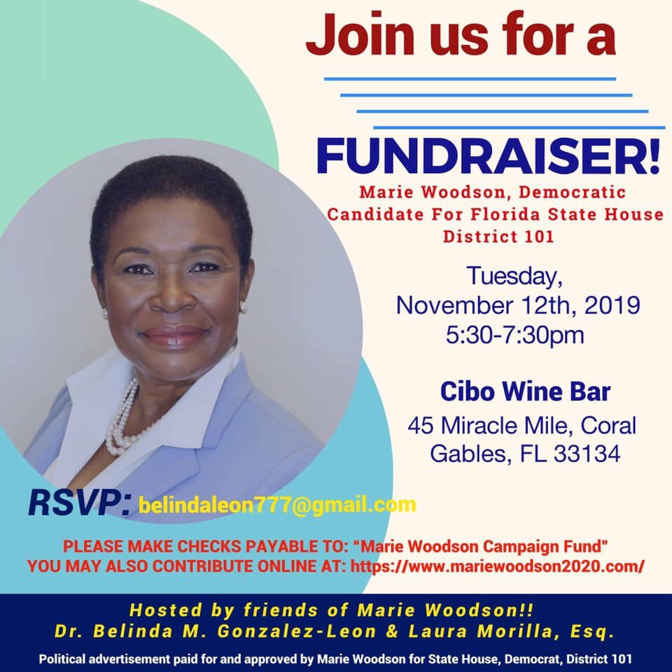 Hi! Belinda Leon here! Did you mark your calendar? Please join me and friends supporting this great woman running for office: FL State House 101. She's the real thing. She will make the difference for our families. Please come down to Coral Gables and support!   #TeamWoodson