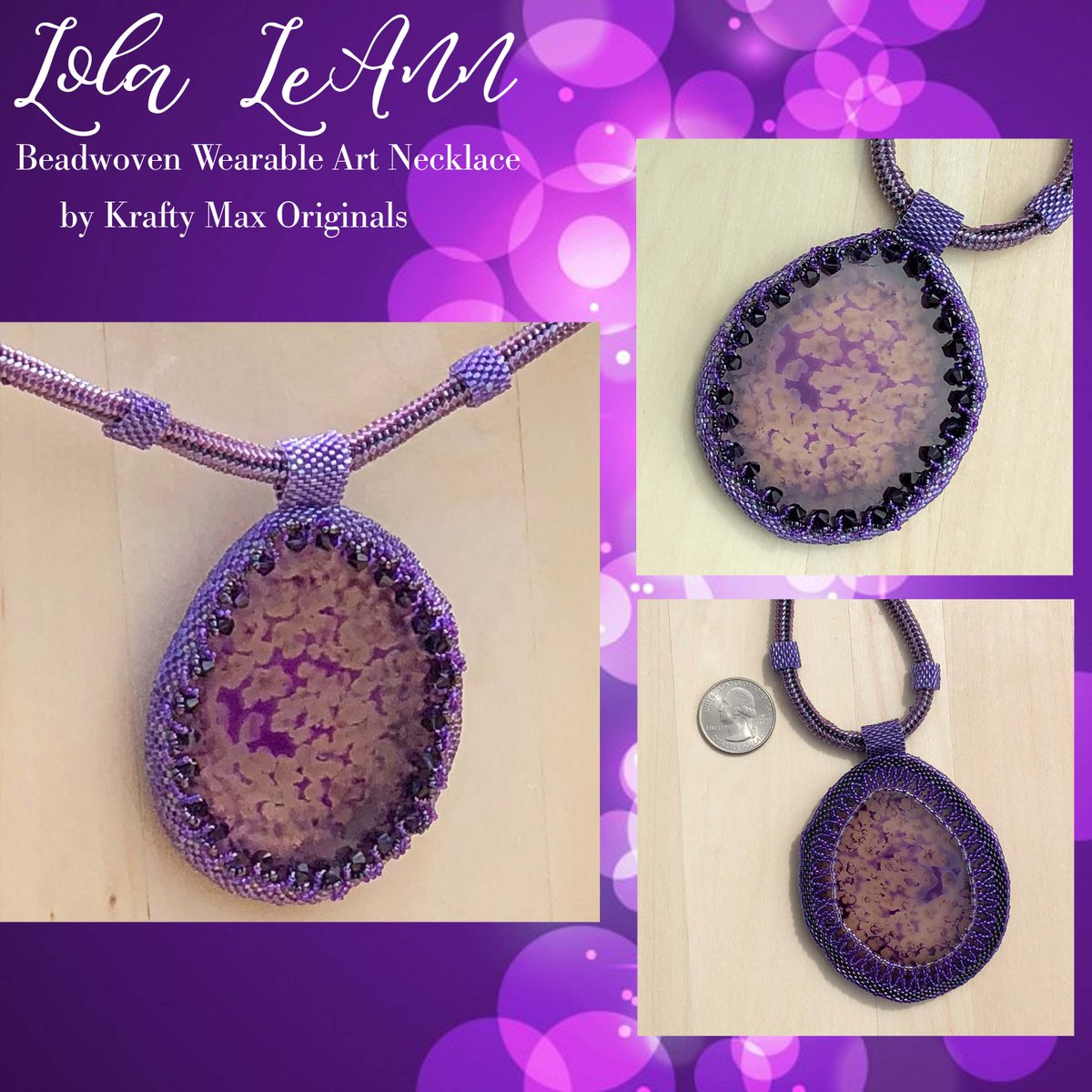 Lola LeAnn – Purple Agate Slice Beadwoven Wearable Art Necklace $147  #handmade #jewelry #supporthandmade #buyhandmade #handmadelove #jewelrydesigner #jewelryart #uniquejewelry #handcrafted #kraftymax #kmax