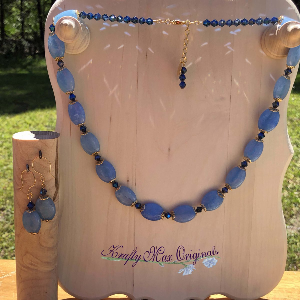 Blue Maylay Jade with Swarovski Crystals and Gold Plated Findings Necklace Set $56  #handmade #jewelry #supporthandmade #buyhandmade #handmadelove #jewelrydesigner #jewelryart #uniquejewelry #handcrafted #kraftymax #kmax