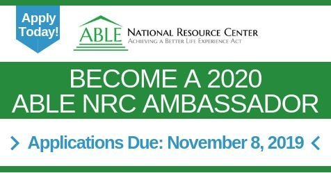 Reminder: Applications to become a @theABLENRC Ambassador for 2020 are due November 8, 2019! ndiinc.formstack.com/forms/able_amb…