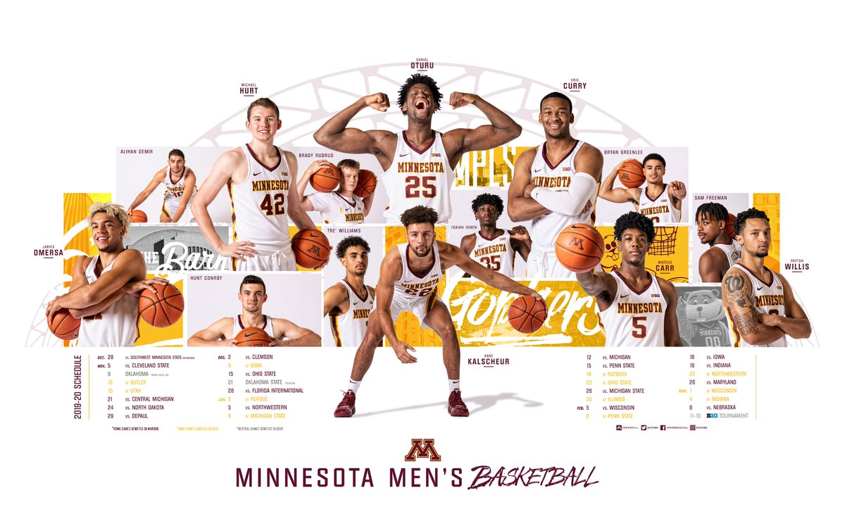 🏀 🆂🆉🅽 🏀  A little something for #Gophers to pick up at Monday's exhibition: the 2019-20 poster.