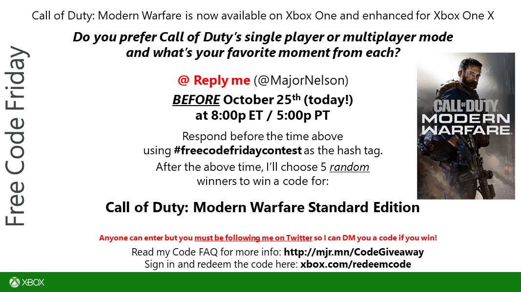 Larry Hryb On Twitter Freecodefridaycontest Round Two Time Read This And You Could Win A Code For Call Of Duty Modern Warfare Digital Standard Edition On Xbox One Good Luck Https T Co Gqcv6bndvu