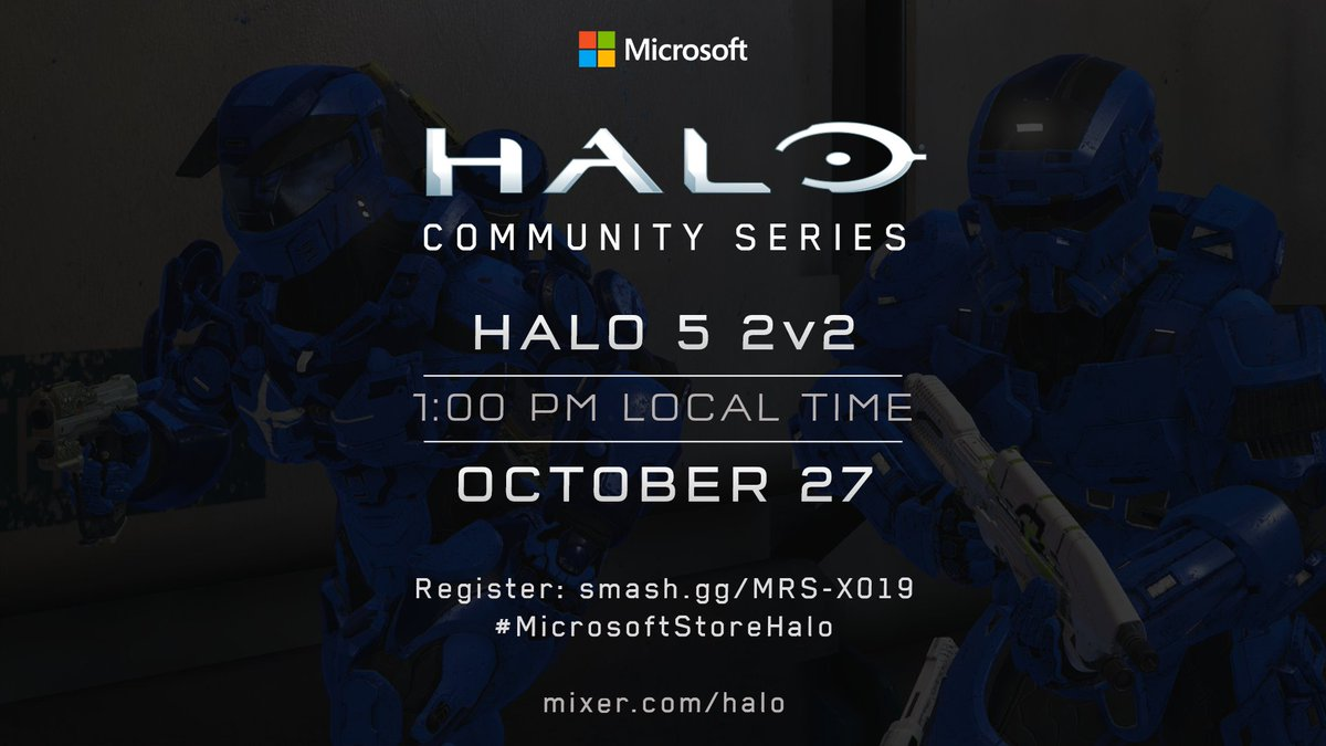 Head to your local @MicrosoftStore tomorrow on Halo 5s birthday to play in an H5 Doubles tournament and earn a chance to go to #X019 in London. Learn more and sign up at smash.gg/MRS-X019!