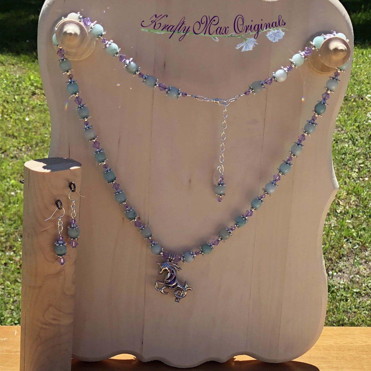 Purple Swarovski Crystals and Blue Gemstones Matched with a Unicorn Bead Cage Necklace Set $48  #handmade #jewelry #supporthandmade #buyhandmade #handmadelove #jewelrydesigner #jewelryart #uniquejewelry #handcrafted #kraftymax #kmax