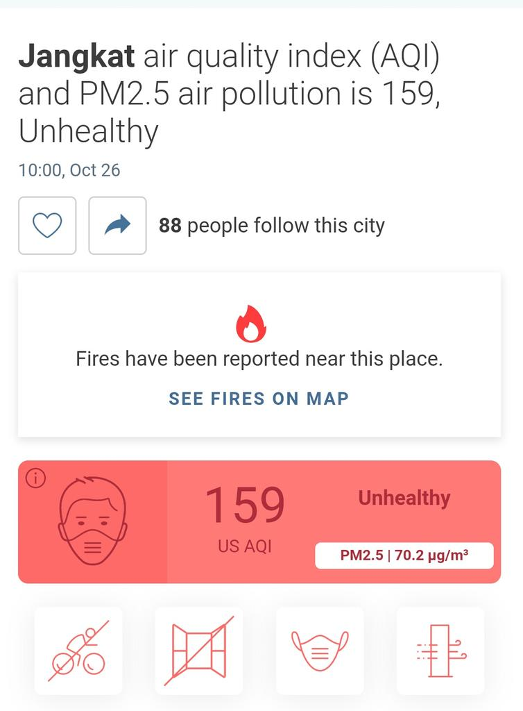 Index kualitas udara di dataran tinggi Merangin dalam kondisi tidak baik. Dihimbau untuk masyarakat  tetap menggunakan masker ketika beraktivitas. #ASAP #merangin #jangkat #masihLTB #ASAPJAMBI