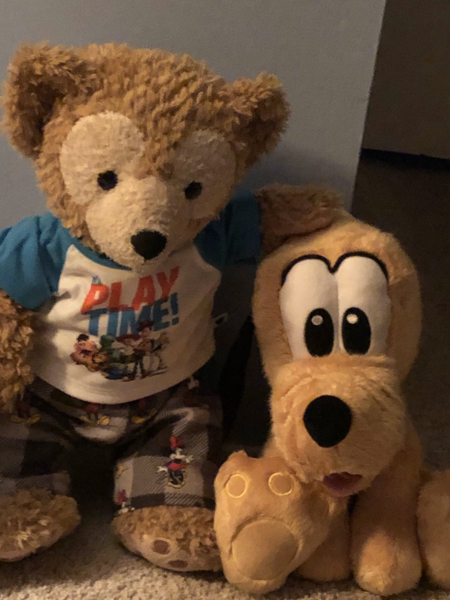 Me and Pluto relaxing before bed hopefully mommy will let us  stay up late tonight night watch YouTube videos with her #duffythedisneybear @YouTube #disney #bestfriends
