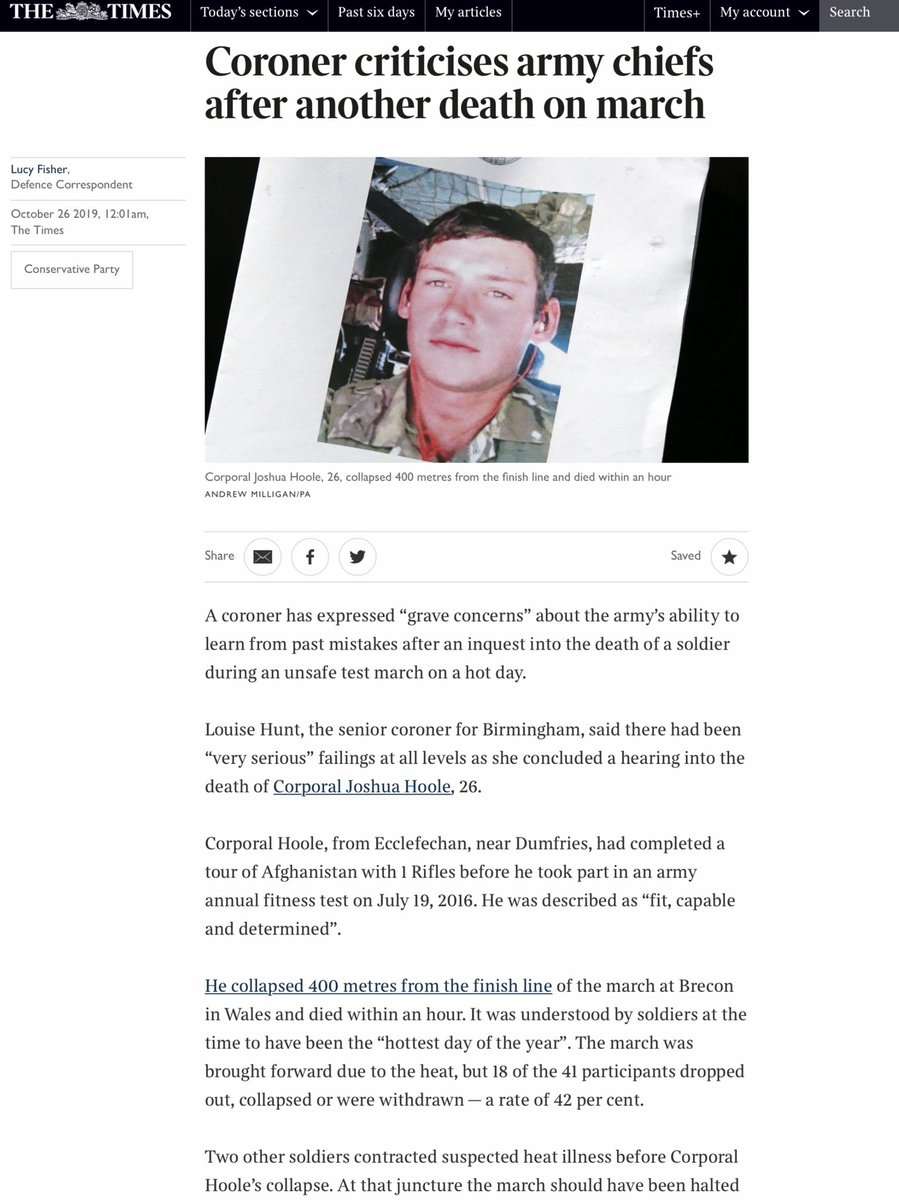 Coroner slams @DefenceHQ for #CorporalJoshuaHooles death on an endurance exercise on 19 July 2016. We had warned @DefenceHQ on 18 July about #AirPollution that week after three soldiers died on similar SAS selection HT @LOS_Fisher cc @BWallaceMP cleanair.london/health/clean-a…. Thread/