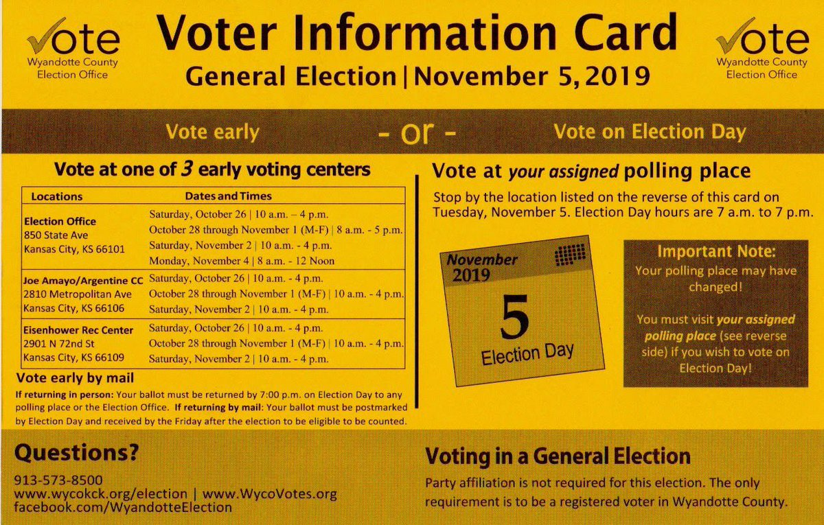 #WyCo early voting starts today! Make your plan to get to the polls on or before Nov 5, #KS03!