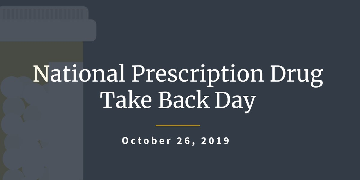 #TakeBackDay is today! Let's keep drugs out of our communities and schools. You can dispose of unused drugs - including vaping devices and liquids! Find the nearest collection center here: takebackday.dea.gov #BeBest @DEAHQ